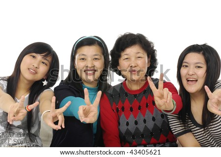 Grandmother with adult daughter and granddaughter make gestures