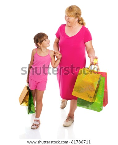Grandmother with child go shopping isolated on white - stock photo