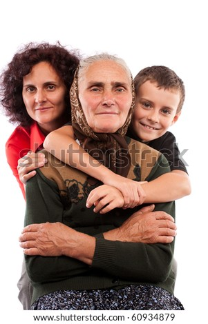 Grandmother with daughter and grandson isolated on white background