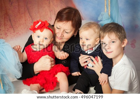 Grandmother with grandchild, family portrait