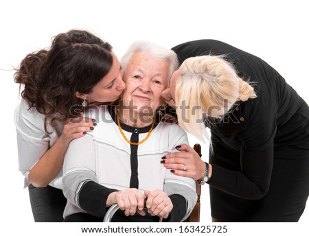Grandmother with grandchildren on a white background