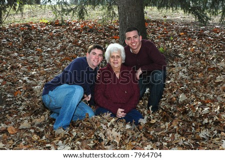 grandmother with grandsons - stock photo