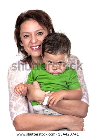 grandmother with her angry grandson - stock photo