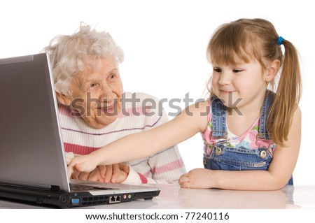 Grandmother with the grand daughter - stock photo