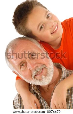 Grandpa and his grandson smiling for a happy portrait - stock photo