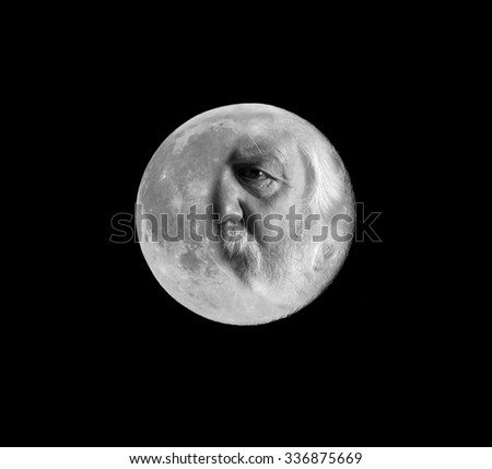 Grandpa Moon, Fairy-tale, abstract portrait - stock photo