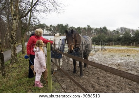 grandparent and grandchild petting the horses - stock photo