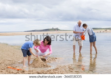 Grandparents and grandchildren are playing together on the beach. They all look happy playing with the sand and water. - stock photo