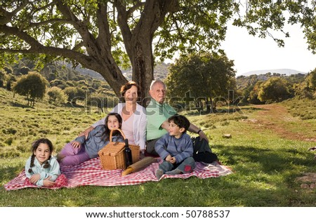 grandparents and  grandchildren having a picnic together - stock photo