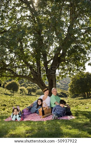 grandparents and  grandchildren having a picnic together - stock photo