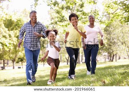 Grandparents and grandchildren in park - stock photo