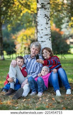 Grandparents with grandchildren sitting together and making selfie with cellphone in park - stock photo