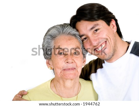 grandson and grandmother over white very happy - stock photo