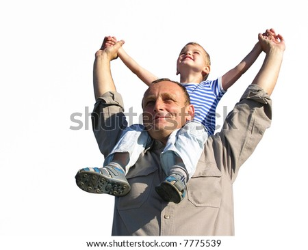 granfather with grandson isolated - stock photo