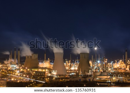 Grangemouth oil refinery, one of the largest of kind in Europe, at night. - stock photo