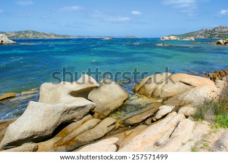 Granite coast near Palau, northern Sardinia, Italy - stock photo