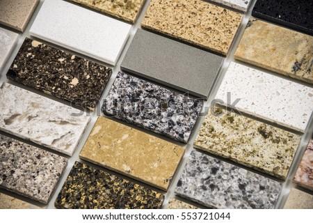 granite countertops samples colors marble quartz stock photo 553721044 shutterstock. Black Bedroom Furniture Sets. Home Design Ideas