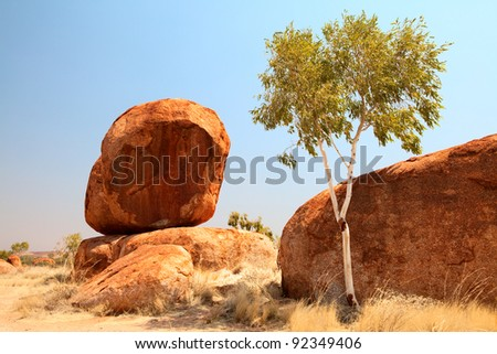 granite eroded rock formation, big stone pebbles geology by erosion Devils Marbles Northern Territory Australia landmark in Aboriginal culture tourism destination in outback white gum tree - stock photo