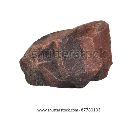 Granite fragment isolated on white background - stock photo