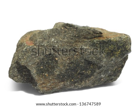 granite gray stone a isolated on white background - stock photo