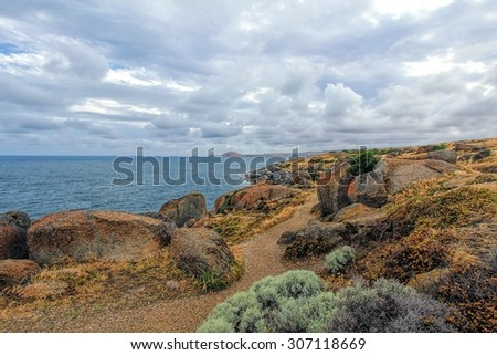 Granite Island off the coast of Victor Harbour South Australia - stock photo
