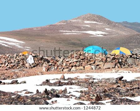 Granite Peak base camp, Montana - stock photo