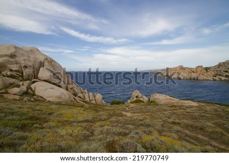 granite rocks on the coastline in Capo Testa, Sardinia, Italy - stock photo