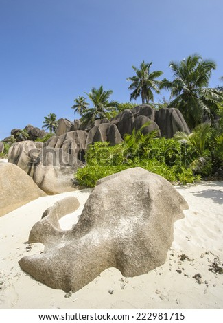 Granite rocks on the island of La Digue, Seychelles, Indian Ocean - stock photo