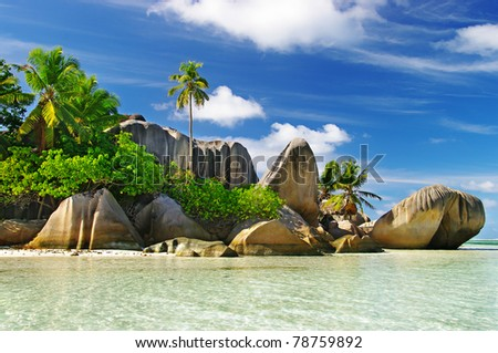 granite rocky beaches on Seychelles islands- La digue - stock photo