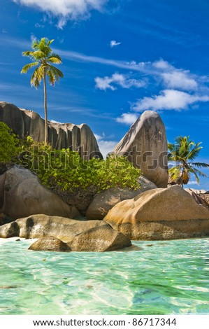 granite rocky beaches on Seychelles islands- La digue - stock photo