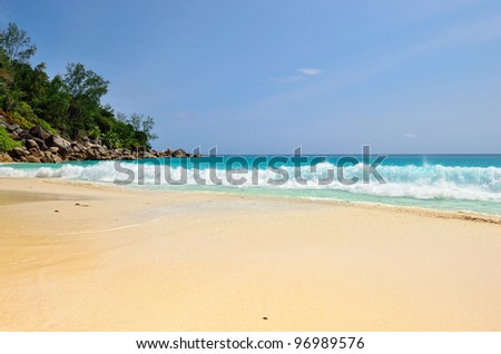 Granite rocky beaches on Seychelles islands,Praslin, Anse Georgette - stock photo