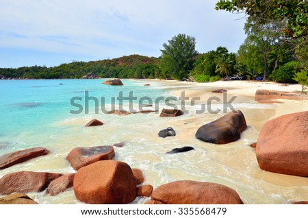 Granite rocky beaches on Seychelles islands, Praslin, Anse Lazio - stock photo