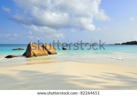 Granite rocky beaches on Seychelles islands, Praslin, Anse Lazio - stock photo