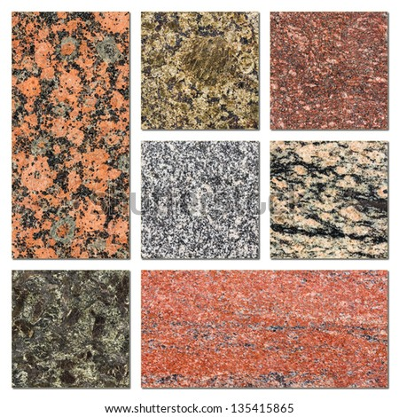 Granite samples collection - stock photo