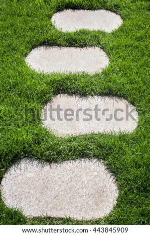 granite stepping stones on a lawn - stock photo