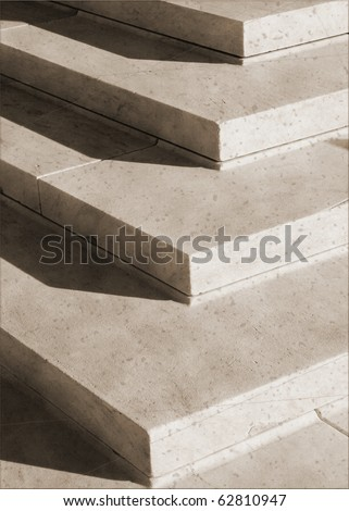 Granite steps geometry in vintage sepia - stock photo