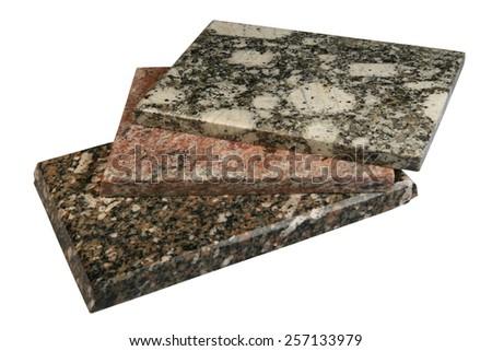 Granite tile on a white background - stock photo