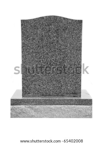 Granite Tombstone Isolated on White - stock photo