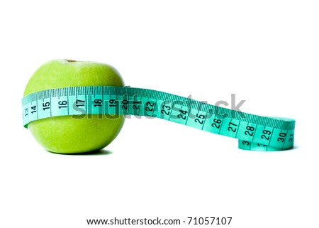 Granny Smith Apple with green tape measure