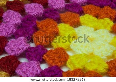 Granny square of crochet. Homemade. - stock photo