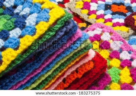 Granny squares of crochet. Homemade. - stock photo