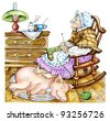 Granny with a pig. Hand drawn cartoon illustration: old woman, knits a stocking. She warms her feet upon a pig, sleeping on a carpet. Express concept: contact with pets treats people for an illness. - stock photo