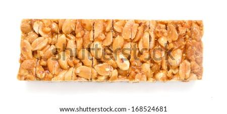 Granola bar. Isolated over white background .  - stock photo