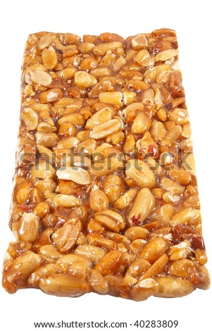 Granola bar. Isolated over white background .