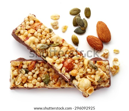 Granola bar with chocolate isolated on white background - stock photo