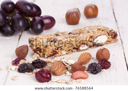 Granola Bar with grapes dried fruit and nuts - stock photo