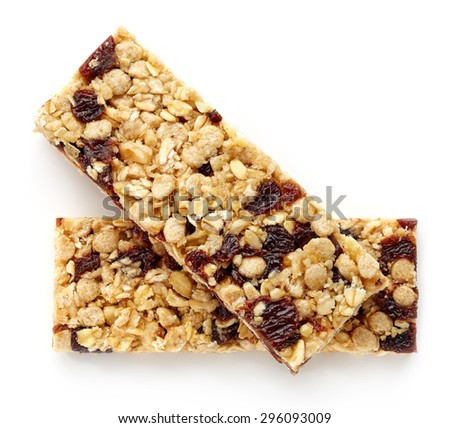 Granola bar with raisins isolated on white background - stock photo