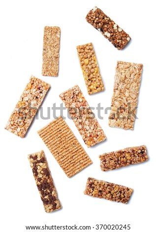 Granola bars, cereal snack isolated on white background - stock photo