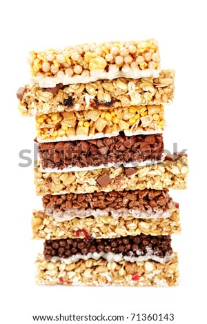 granola bars on white background - diet and breakfast - stock photo