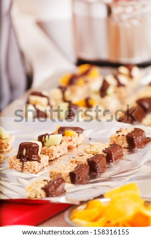 granola bars with chocolate - stock photo